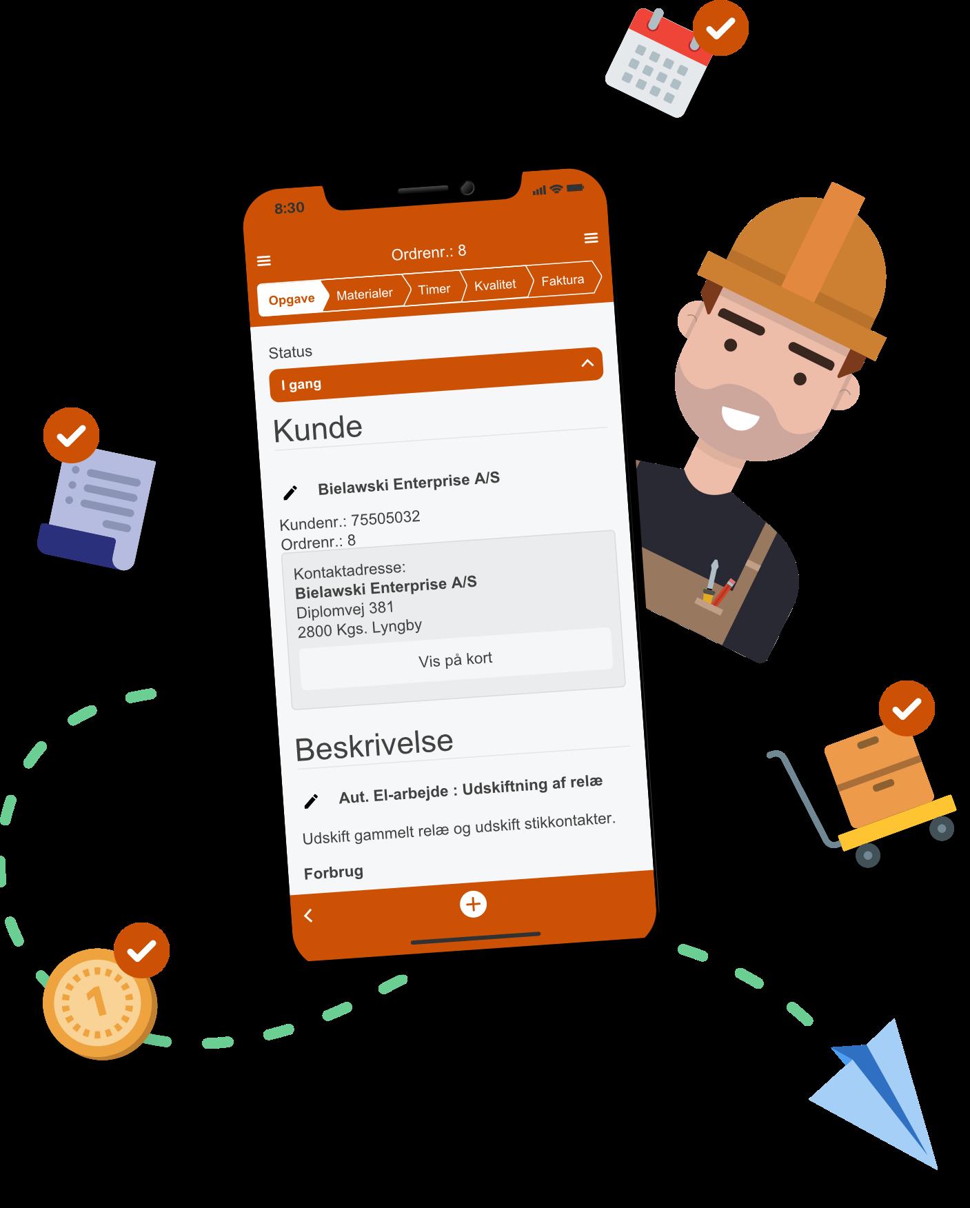 ordrestyring app Minuba go